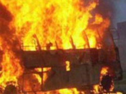 Protesters Burn Apsrtc Bus