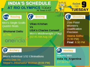 Rio Olympics 2016 Day 5 August 9 India S Schedule Brazil
