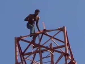 Sivagangai Youth Tries Attempt Suicide Cell Phone Tower