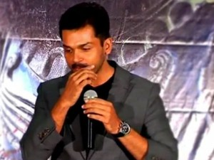 Karthi Slips Mustache During Kashmora Pressmeet