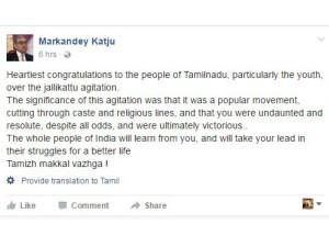 Katju Hails Tn People Their Victory Jallikattu Agitation