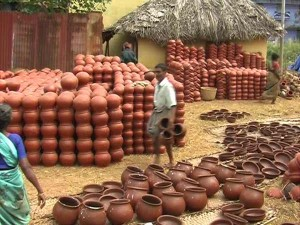 Pongal Festival Colourful Clay Pots Sales South Distict