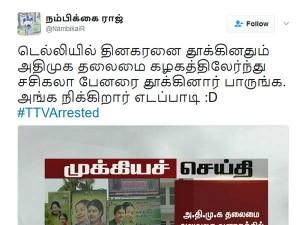 Ttv Dinakaran Arrest Sasikala Banners Removes Hq Twitters Comment