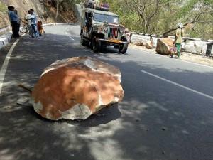 Rock Rolls Over On Road Thirumala Tirupathy