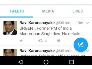 Srilanka Minister S Fake Twitter Account Posts Hoax Message About Manmohan Singh