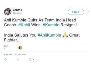 Netizens Shocked Anil Kumble Resigns