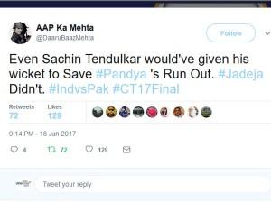 Sachin Tendulkar Would Have Given His Wicket Pandya