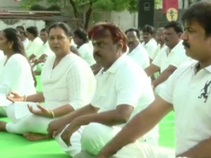 World Yoga Day Dmdk Chief Vijayakanth Not Participated