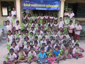 Chairman Manika Vasagam Middle School Given Trees Students