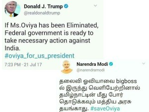 Netizens Makes Tweets The Name Modi Trump Supporting Oviya