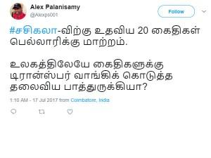 Twitter Comments On Sasikala