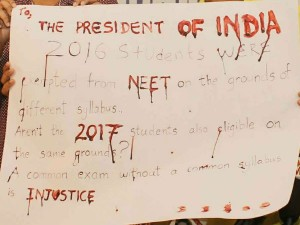 Students Write Blood Letter President India