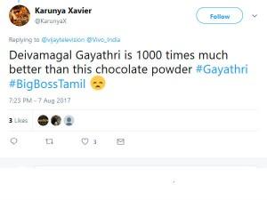 Netizens Condemns Gayathri Biggboss Program