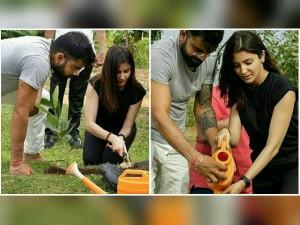 Virat Kohli Anushka Sharma Planting Sapling Sri Lanka