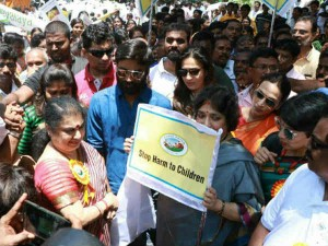 Dhanush His Family Participated National Yatra Stop Harm Child Rally