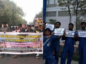 Pro Kanyakumari Fishermen Protests Outside Tn
