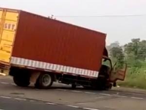 Container Lorry Goes Berserk Near Dindigul
