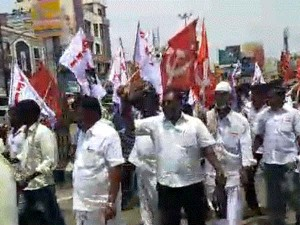 Road Blockage On Behalf The Communist Party Sivagangai