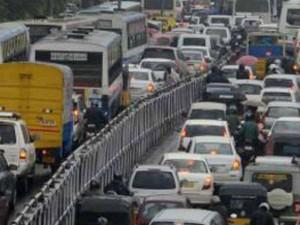Heavy Traffic Jam Many Places Chennai