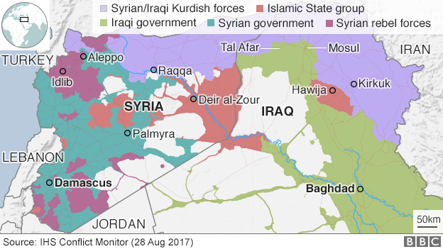 Map showing who controls different parts of Iraq and Syria, 2 Sept 2017