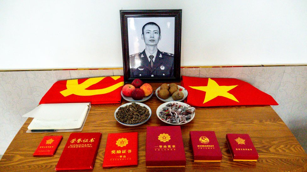 A view of the memorial service desk at the home of Xiao Siyuan, one of the four PLA soldiers killed in the last years border clash